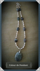 Rainbow Agate stone pendant with accents of Rainbow Jasper and pink pearl beads.